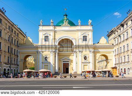 Saint Petersburg, Russia - June 2021: Catholic Church Of St. Catherine On Nevsky Prospekt