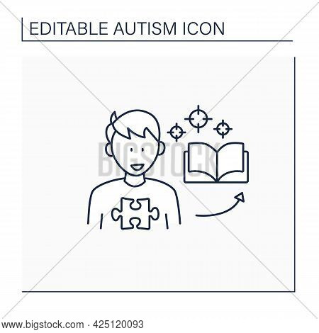 Neurodevelopmental Disorder Line Icon.intense Focus On One Topic. Preoccupation With A Narrow Topic