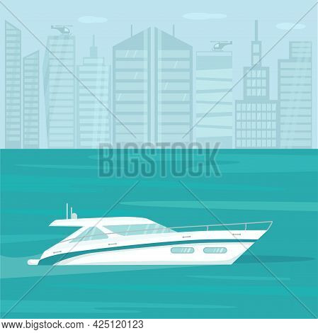 Modern Speed Yacht With In Ocean, Sea On City Lanscape Background. Summer Vacation Seaside Concept.