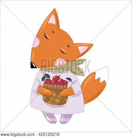 Stylish Red Fox In An Elegant Dress And A Scarf Tied Around His Neck With A Basket Of Cherry Berries