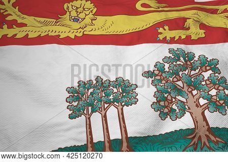 Full Frame Close-up On A Waving Flag Of Prince Edward Island (canada) In 3d Rendering.