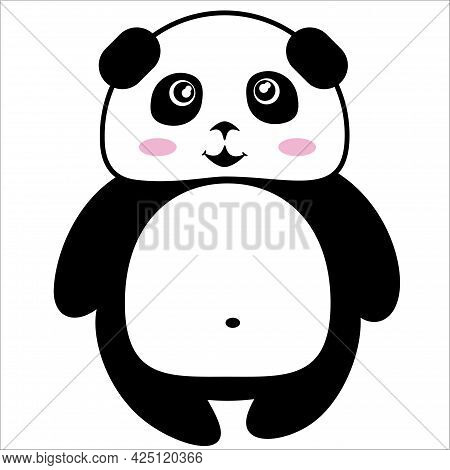 Funny Smiling Stylized Linear Black And White Standing Panda