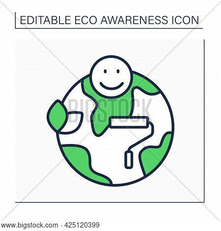 Greenwashing Line Icon. Environmental Marketing. Image Of An Environmentally Oriented Company. Eco A