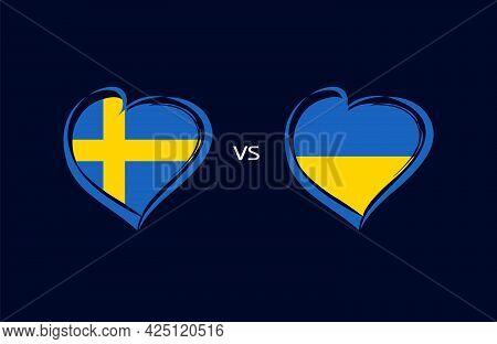 Sweden Vs Ukraine, Flag Emblem Blue Banner. National Team Soccer On Navy Blue Background. Swedish An