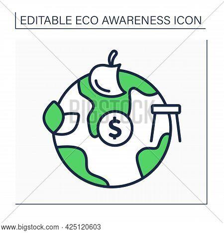 Minimalist Lifestyle Line Icon. Rejection Of Modern Civilization Benefits. Eco Friendly Living Condi