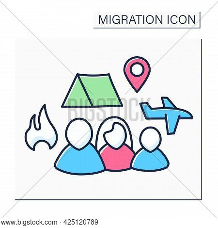 Refugees Color Icon. Forced Country Leaving. Family Escape From Bad Living Conditions. Living In Ten