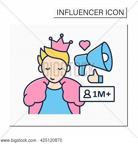 Mega Influencer Color Icon. Blogger With Million Subscribers.high Influence On People. Popular Perso