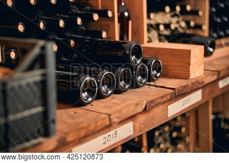 Wine Cellar With Bottles Of Alcoholic Drink