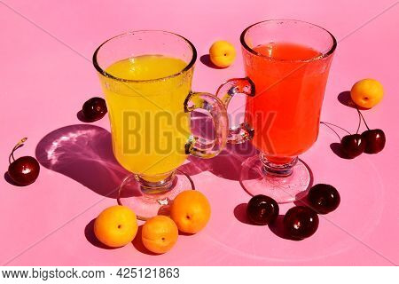 Summer Drinks And Fruits, Cherry And Apricot Lemonade Close Up, Selective Focus, Peaches, Apricots O