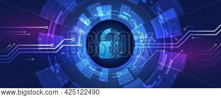 Protection From Virus Attack. Global Antivirus Secure System. Abstract Blue Background With Various