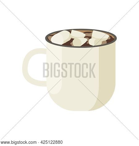 Flat Cup Of Hot Chocolate With Marshmallow Vector Illustration