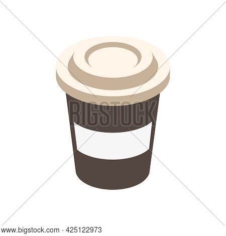 Takeaway Paper Coffee Cup With Plastic Lid Isometric Icon On White Background Vector Illustration