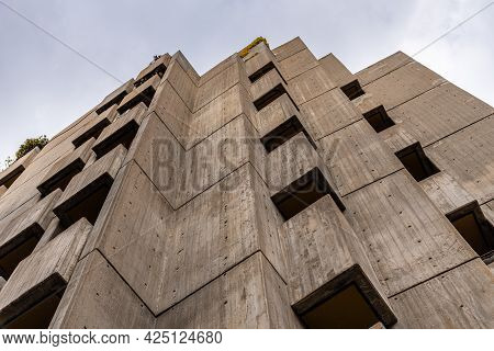 Madrid, Spain - May 1, 2021: Luxury Residential Buildings In Central Madrid. Low Angle View Of The F