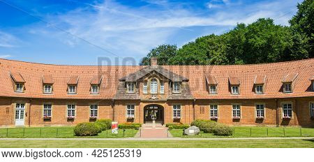 Sogel, Germany - June 16, 2021: Panorama Of The Marstall School Building At Castle Clemenswerth In S