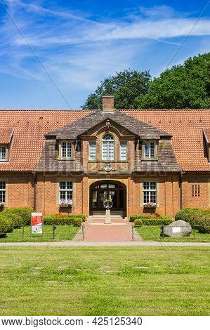 Sogel, Germany - June 16, 2021: Front Facade Of The Marstall School Building At Castle Clemenswerth