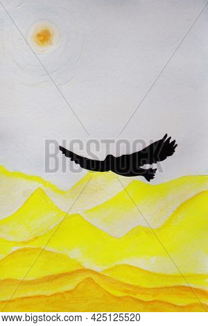 Soaring Eagle Over The Desert, Sand Dunes, Sand In The Sky Under The Scorching Sun Flapping Its Wing
