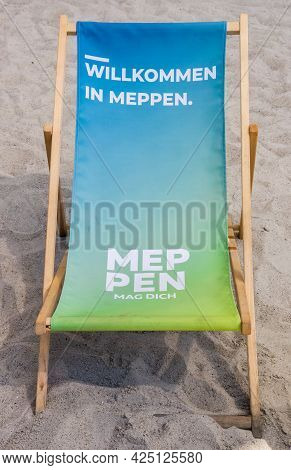 Meppen, Germany - June 16, 2021: Beach Chair With Promotional Text In The City Center Of Meppen, Ger