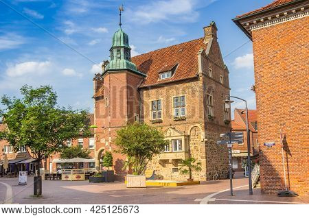 Meppen, Germany - June 16, 2021: Historic Town Hall Building On The Market Square Of Meppen, Germany