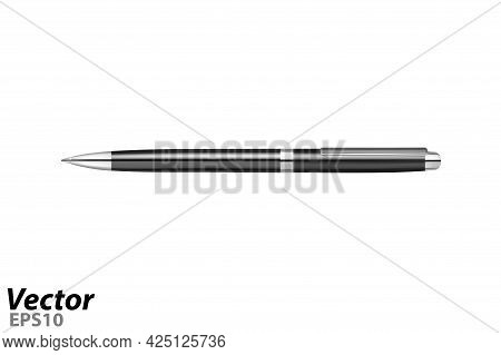 Automatic Ballpoint Pen In Vector.a Business-class Ballpoint Pen In A Vector.black Ballpoint Pen In