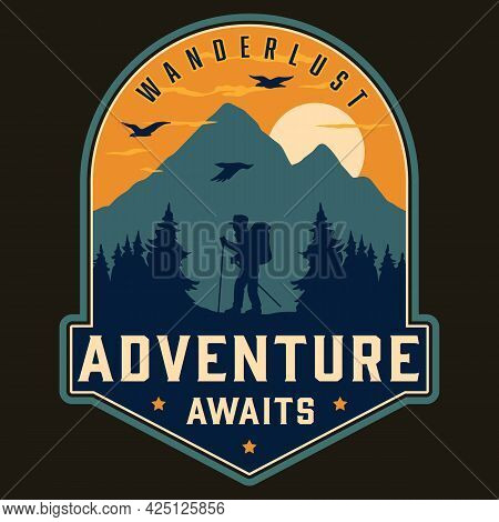 Hiking Vintage Colorful Label With Traveler With Trekking Poles On Flying Birds Forest And Mountains