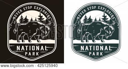 National Park Vintage Logotype With Inscriptions Big Bison On Forest Landscape In Monochrome Style I