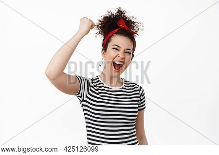 Female Power, Women Rights, Activism Concept. Strong Confident Woman Chanting, Making Fist Pump And