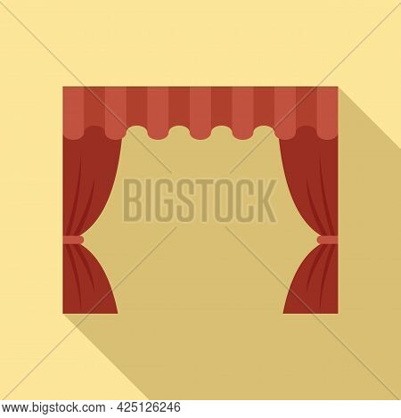 Theater Curtain Icon Flat Vector. Red Opera Stage. Open Velvet Drapery