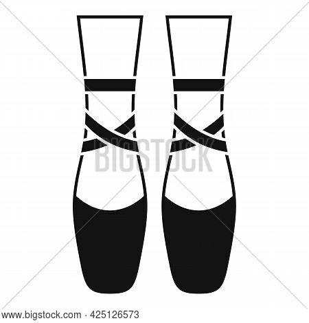 Ballerina Feets Icon Simple Vector. Dance Girl Foot. Classic Ballerina Feets