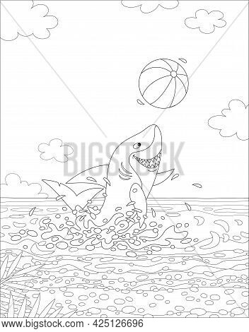 Funny Great White Shark Jumping Out Of Water And Playing A Big Colorful Ball On A Summer Sea Beach,