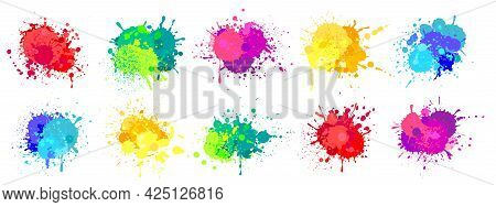Paint Splatter. Colorful Spray Paints Splashes, Rainbow Colored Ink Stains, Drops, Blot. Abstract Gr
