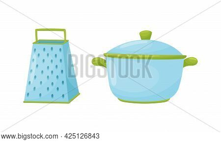 Kitchen Tools With Grater And Stock Pot Vector Set