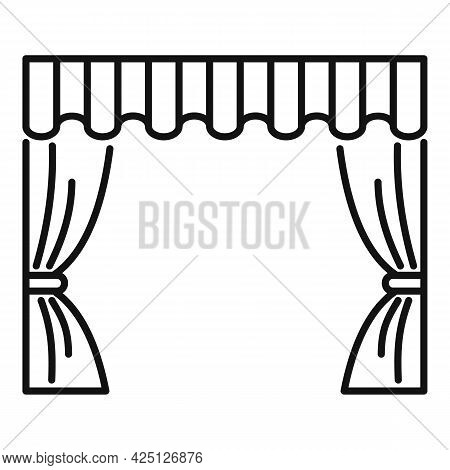 Theater Curtain Icon Outline Vector. Opera Stage. Open Velvet Drapery