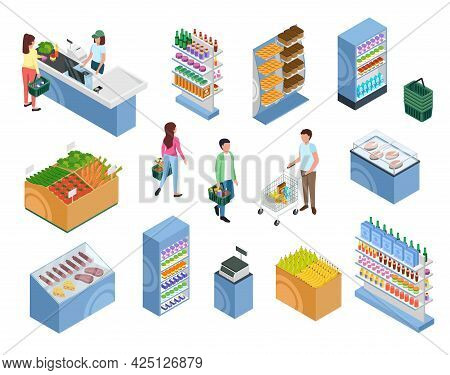 Isometric Shopping People. Customers With Baskets Or Trolley Carts. Woman At Supermarket Checkout. S