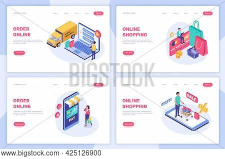 Isometric Online Shopping. People Buying In Internet Shop Concept. Digital Payment, Online Delivery,