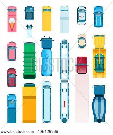 Top View City Transport. Delivery Truck, Bus, Truck, Taxi, Police Car, Ambulance. Flat Urban Transpo