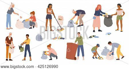 People Collecting Garbage Into Trash Bags And Containers. Men And Women Volunteers Picking Up Trash,