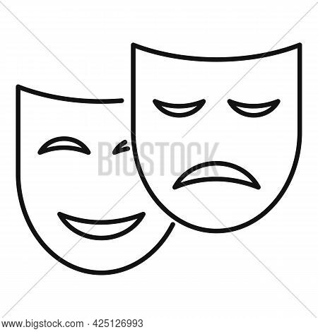 Theater Mask Icon Outline Vector. Drama Comedy Mask. Theater Tragedy