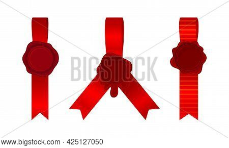 Wax Seal With Ribbon As Warranty Sign Vector Set