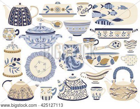 Ceramic Pottery. Porcelain Teapots, Kettles, Cups, Mugs, Bowls, Plates, Jugs. Faience Kitchen Crocke