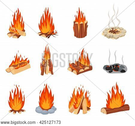 Cartoon Bonfires. Outdoor Burning Fire Flames With Stone Border, Burned Out Bonfire. Forest Tourist