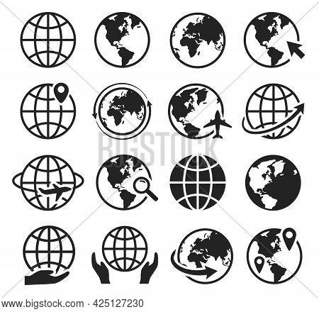Globe Icons. Internet Web Icon With Globe, Cursor, Arrow. Global Plane Travel, World Map. Internatio