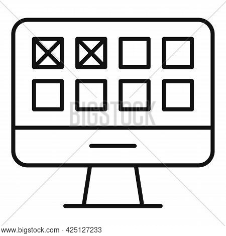Online Lottery Icon Outline Vector. Draw Lucky Raffle. Win Prize Reward