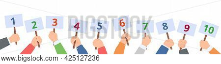 Holding Score Signs. Hands Hold Scorecards With Numbers. Judges Committee With Scoring Cards. Contes