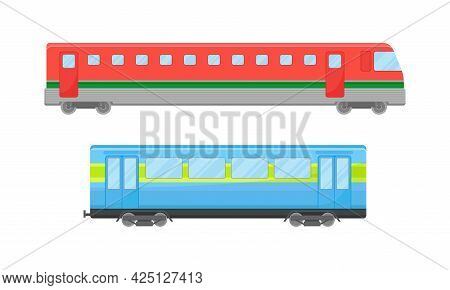 Railroad Car Or Railway Wagon As Railroad Vehicle For Carrying Passengers Vector Set