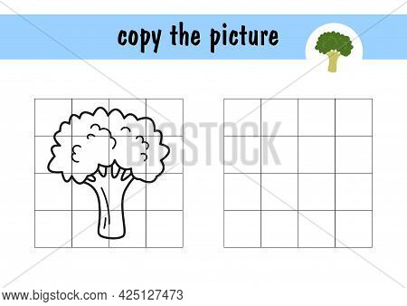 Children S Mini-game On Paper Green Broccoli . Copy The Picture Using Grid Lines, A Simple Game For