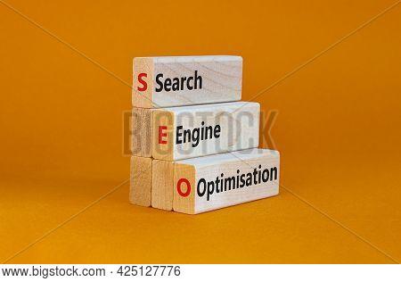Seo Search Engine Optimisation Symbol. Wooden Blocks With Words 'seo Search Engine Optimisation' On