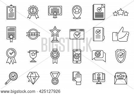 Quality Assurance Exam Icons Set Outline Vector. Certificate Growth. University Policy