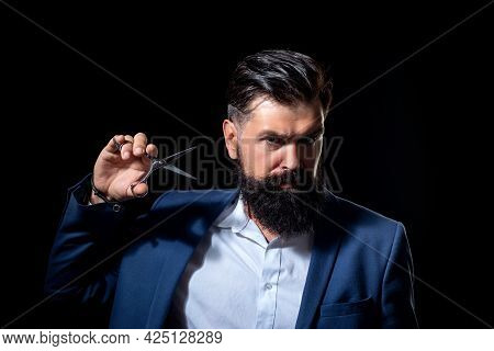 Bearded Man, Portrait Of Man With Long Beard And Moustache. Barber Scissors For Barber Shop. Vintage