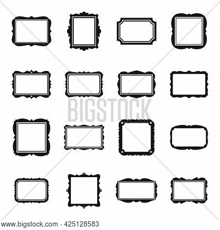 Photo Frame Icons Set Simple Vector. Picture Ornate. Wall Art Photo Frame