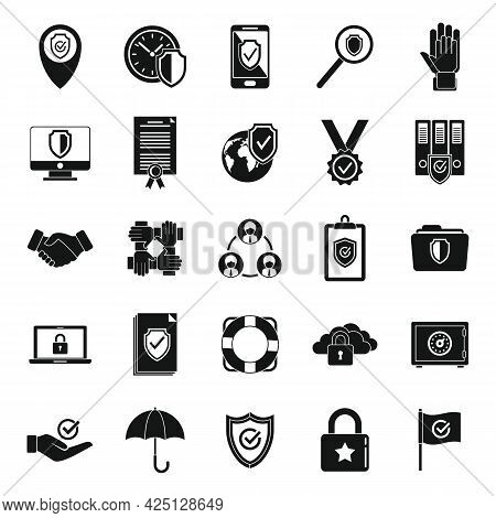Customer Reliability Icons Set Simple Vector. Social Principles. Trust Worker